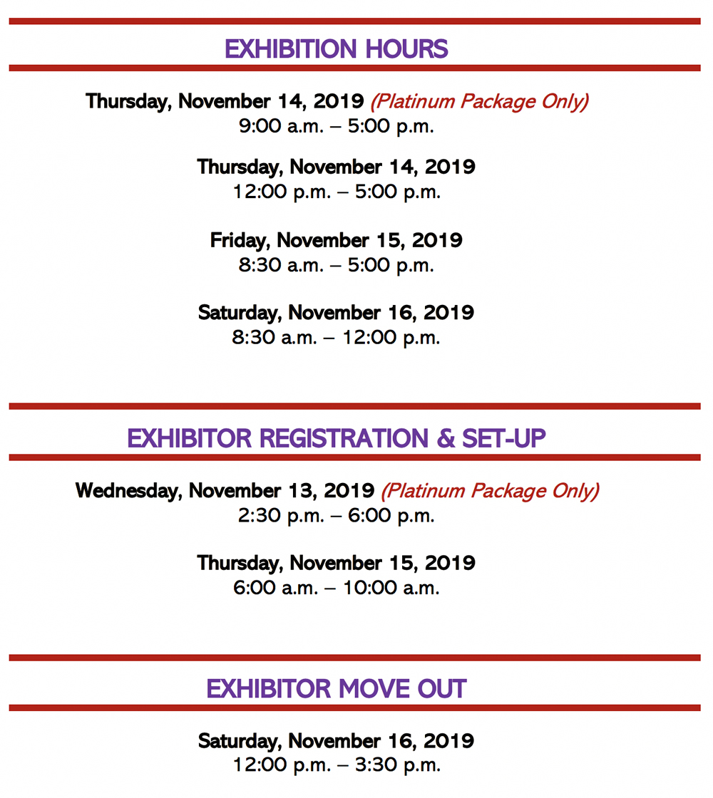NABSE Conference Exhibitors Registration and Setup hours
