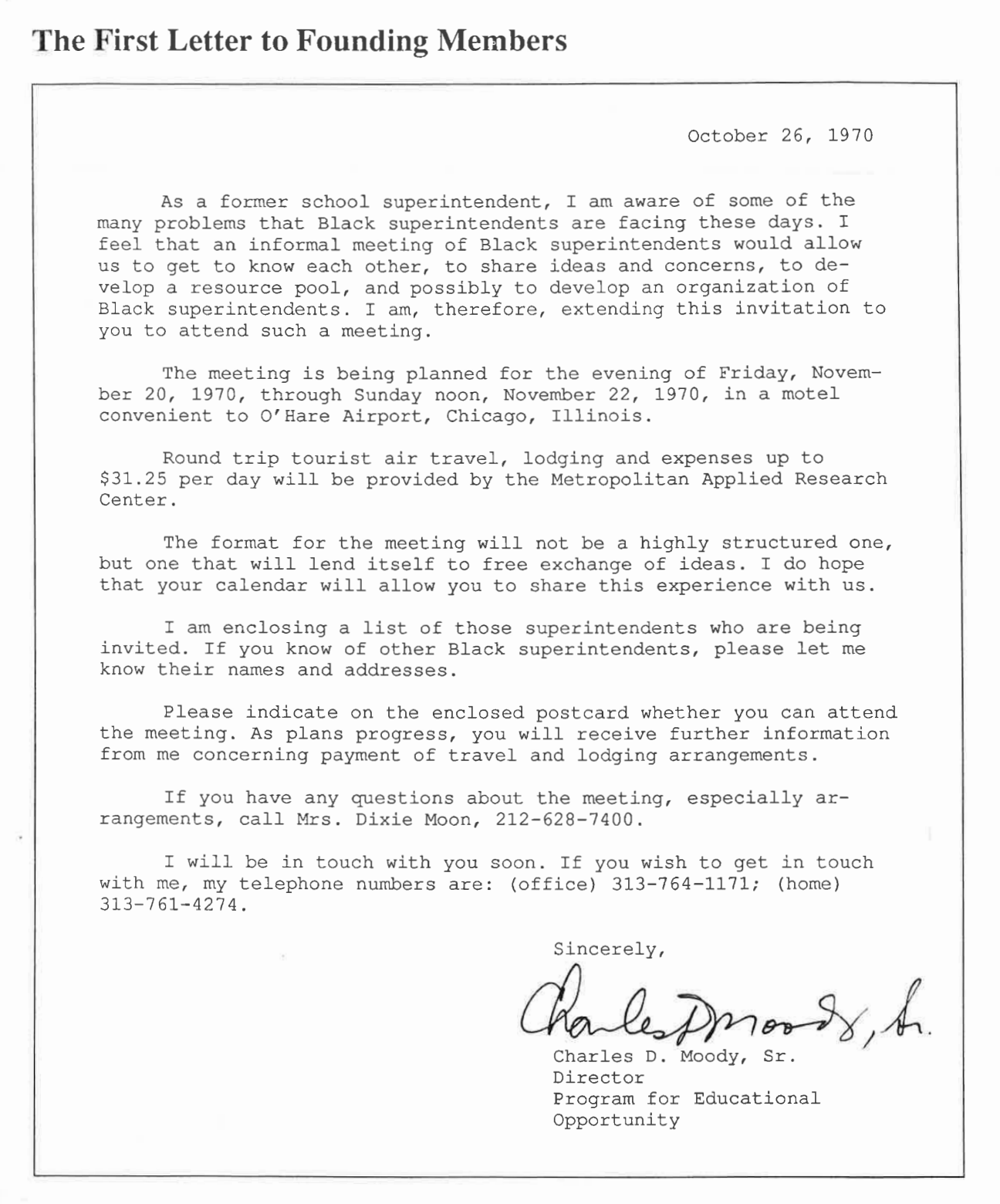 First Letter to the Founding Members